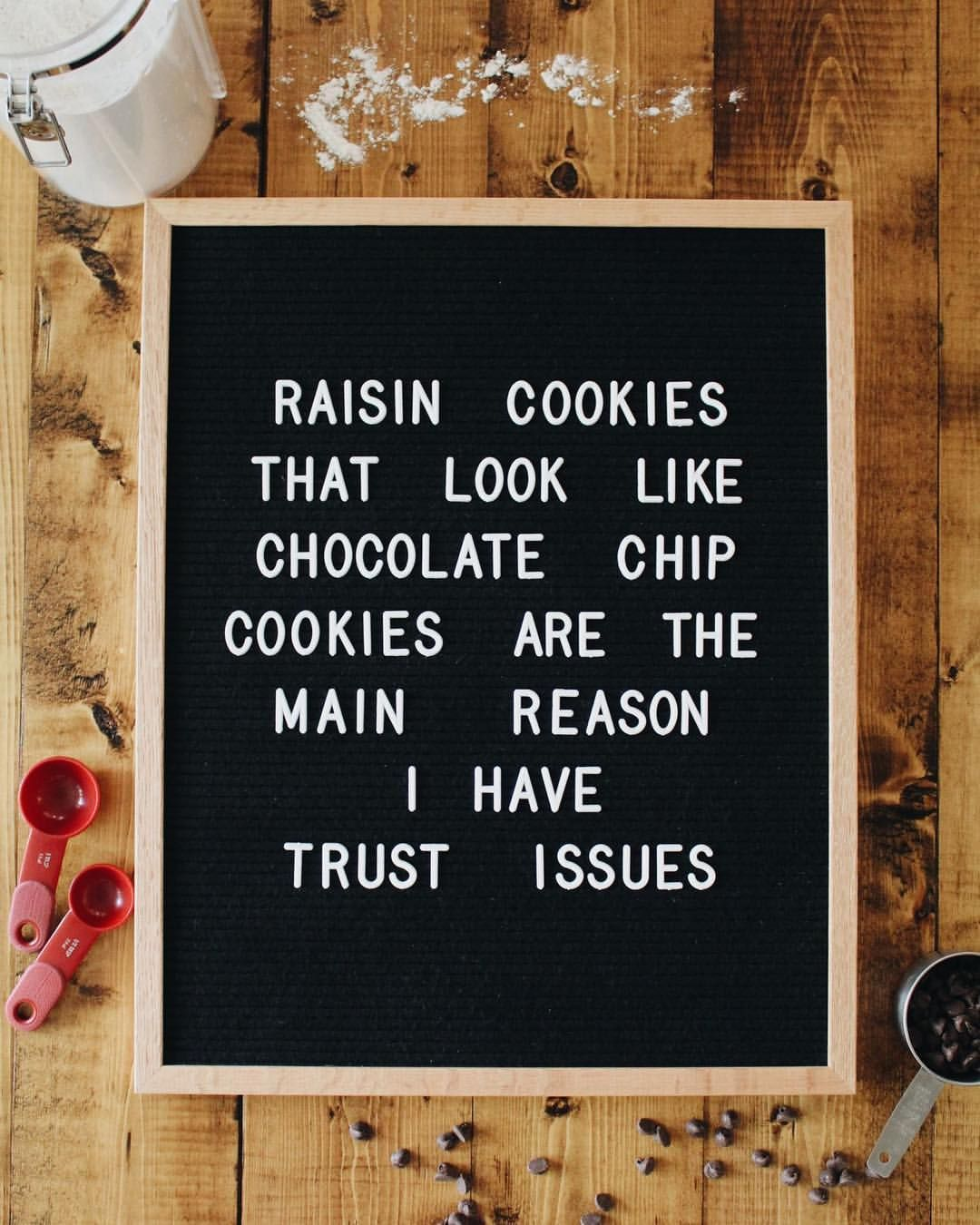 Raisin cookies vs chocolate chip  Letterfolk board  @refineddesignco is part of Message board quotes -