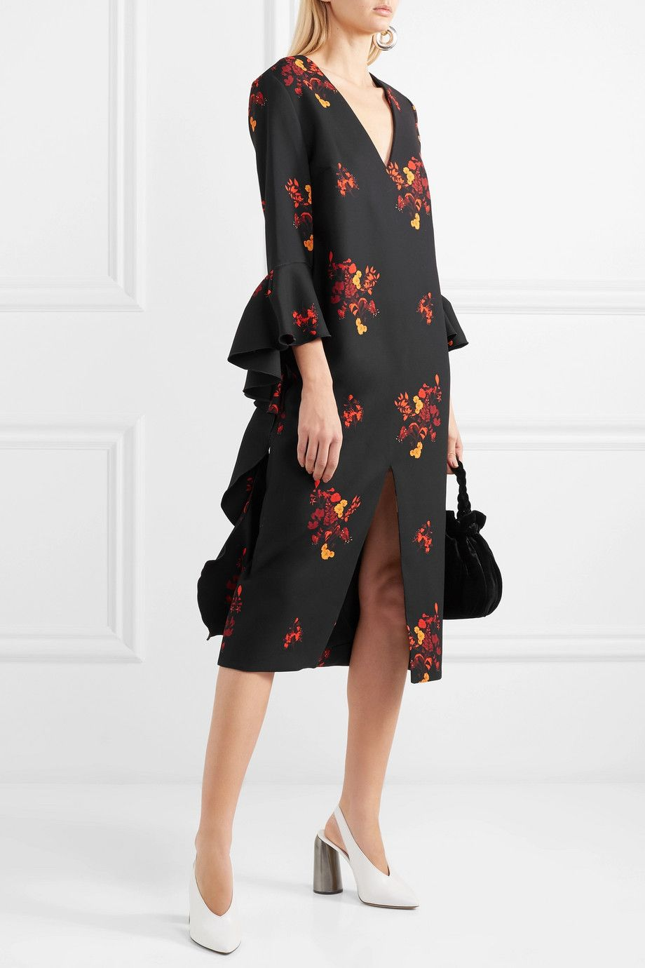 Reuben Ruffled Floral-print Crepe Midi Dress - Black Ellery
