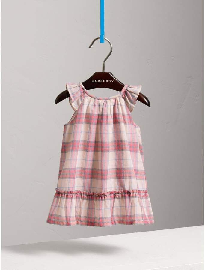 28981c42ce9 Burberry Gathered Check Cotton A-line Dress