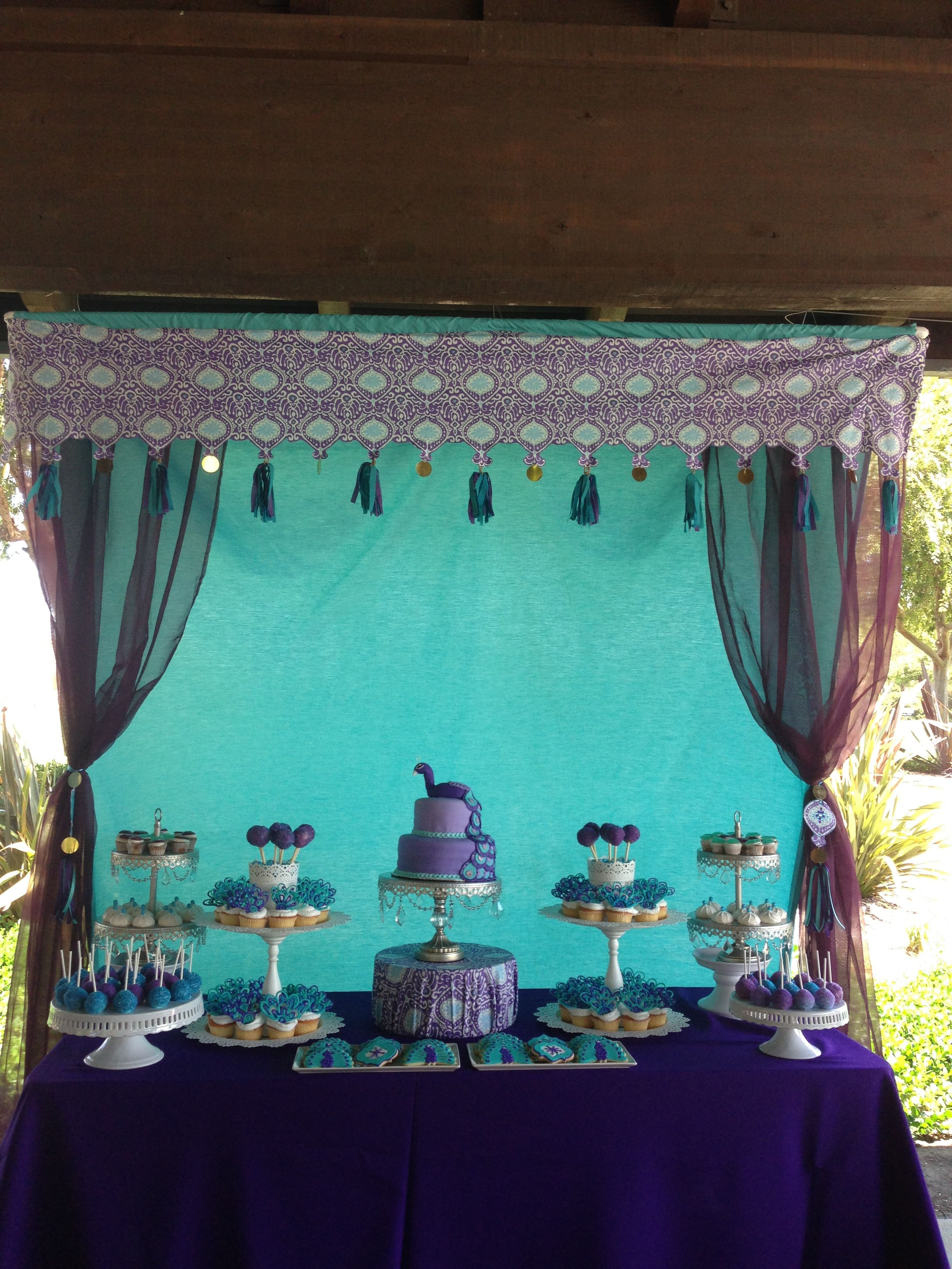 Moroccan inspired peacock dessert table