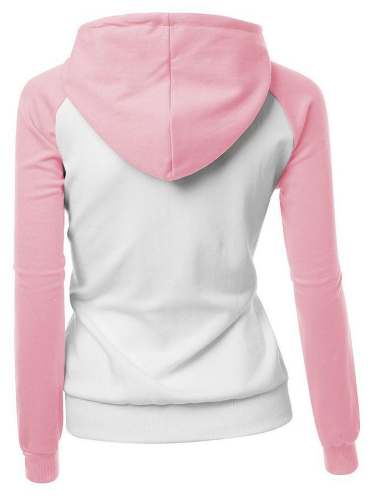 Casual Patchwork Long Sleeve Hooded Loose Women Sweatshirt @woohooshop