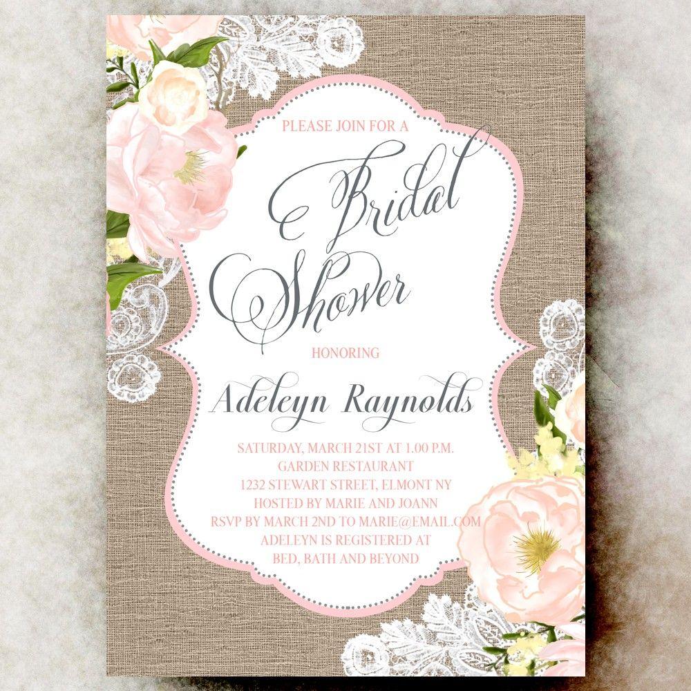Coral Grey Burlap Lace Bridal Shower Invitation