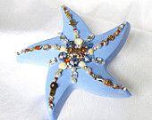 Beach Wedding Favor, blue Starfish with Rhinestones and Shells, Coastal Beach Decor