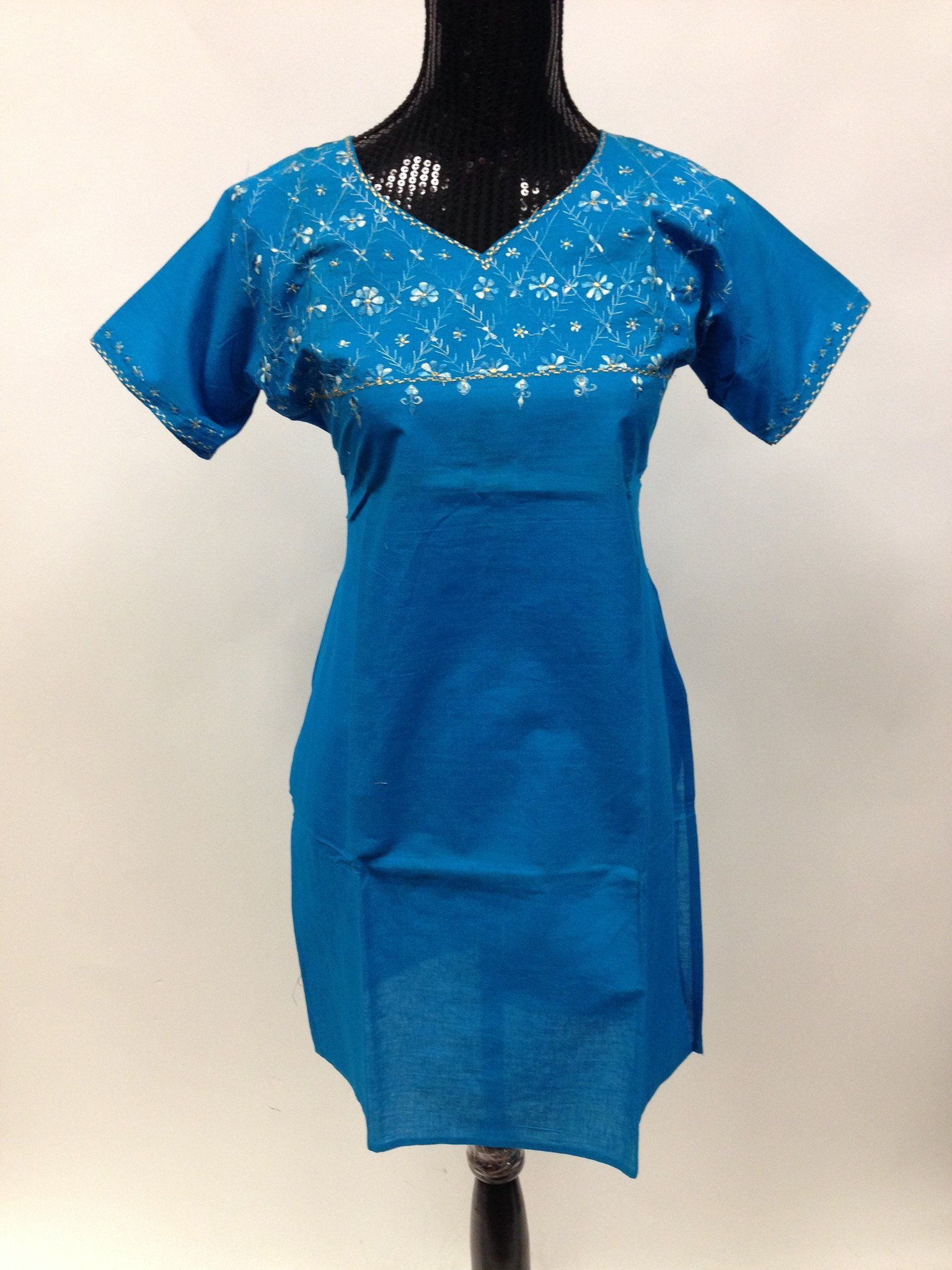 Green long sleeve cocktail dress  Cotton Long Kurta  Blue  Cotton and Products