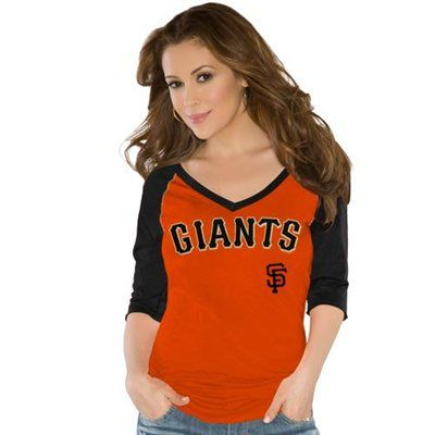 Touch by Alyssa Milano San Francisco Giants Ladies Fly Ball V-Neck T-Shirt - Orange/Black
