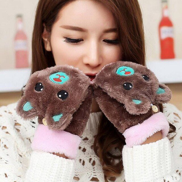 Photo of Women Cartoon Bear Mittens Winter Plush Half Finger With Lid Fingerless Gloves Ladies Warm Gloves G88 Color coffee