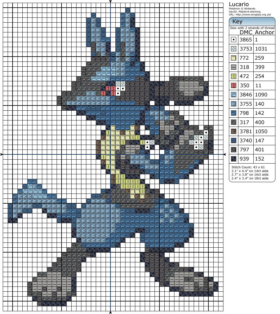 Lucario Pokemon Cross Stitch Cross Stitch Embroidery
