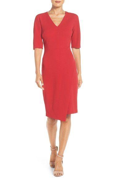 Maggy London Womens Asymetrical Stripe Ponte Dress