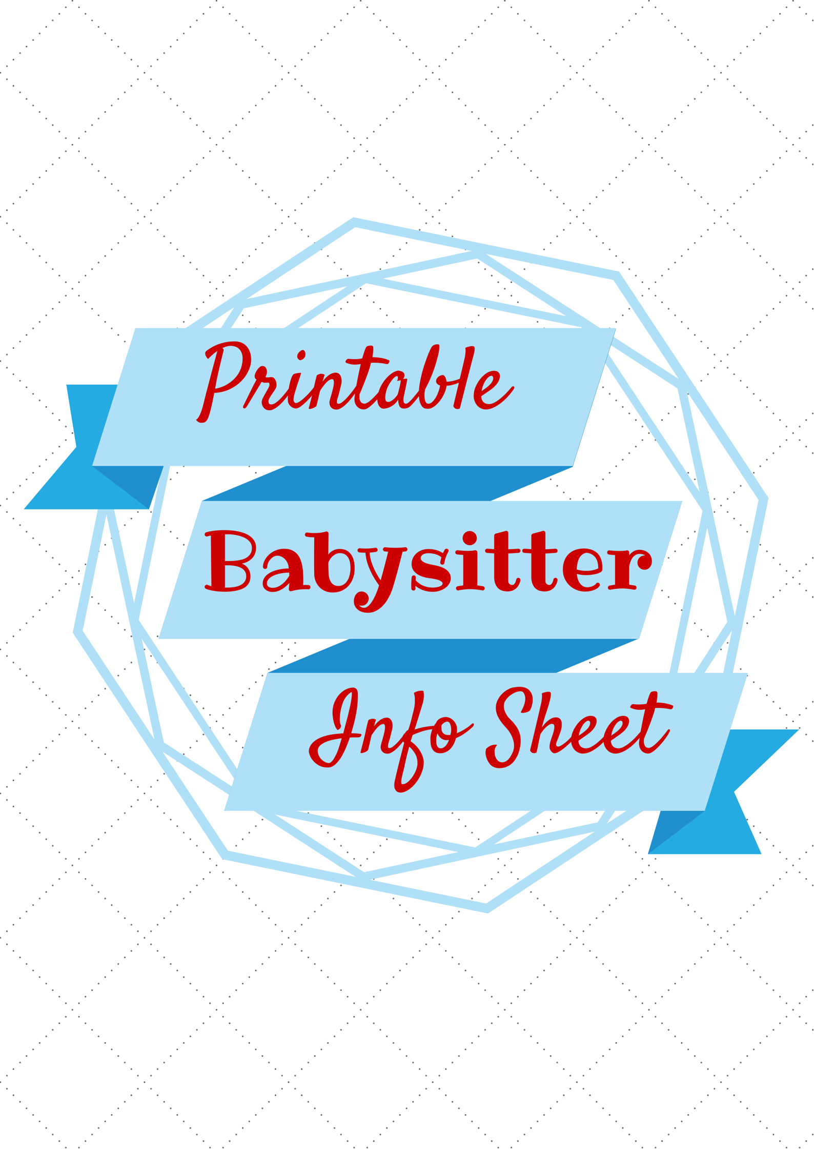 Babysitter Information Printable  Binder