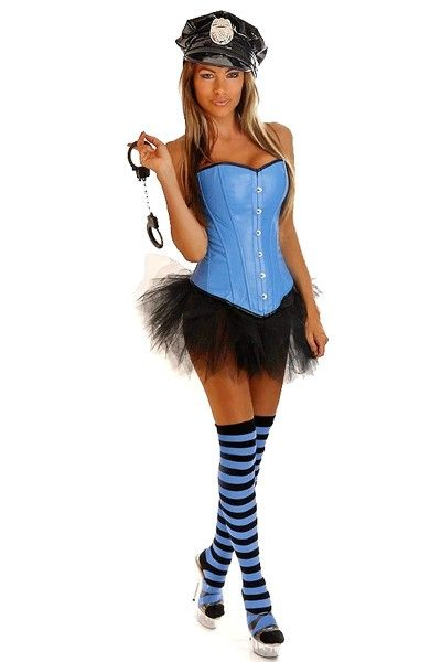 Blue 5 PC Pin Up Cop Costume @ Amiclubwear costume Online Store,sexy - womens halloween ideas