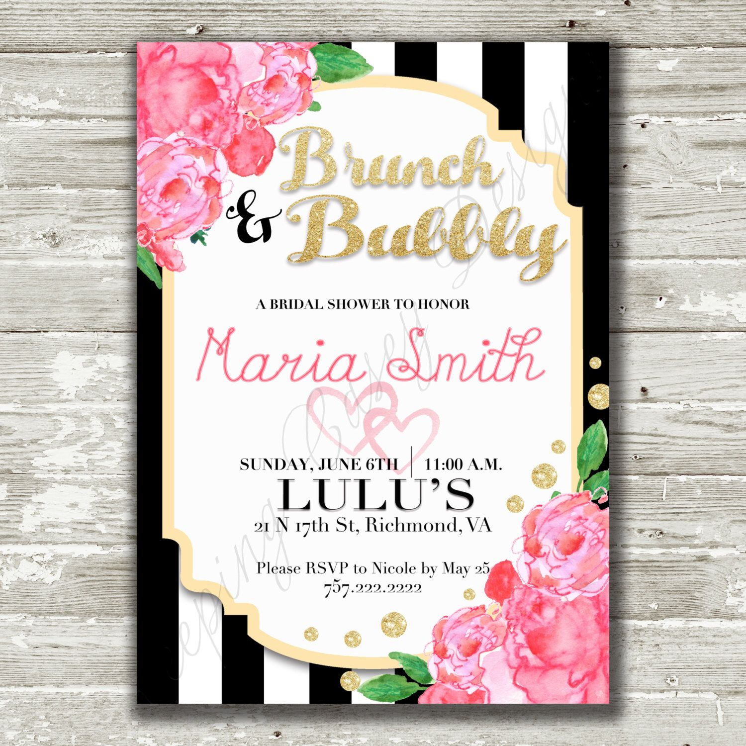 Kate Spade Inspired Bridal Shower Invitation Brunch And Bubbly Stripes