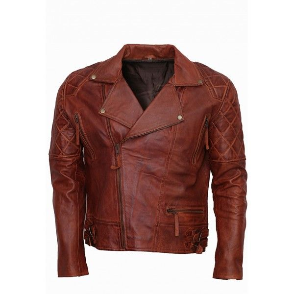 Classic Diamond Brown Waxxed Motorcycle Leather Jacket