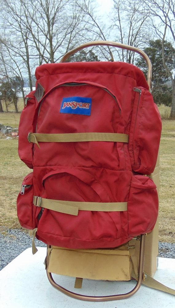 Jansport Hiking Bag Red Large External Frame Backpack Camping Pack Made In USA