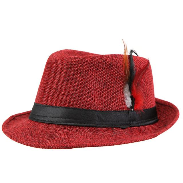 43e58d432a5a1 Trendy Unisex Side with feathers Fedora Trilby Gangster Cap For Womens  Costume Summer Beach Sun Straw Panama Hat Mens Costume Fashion Hats