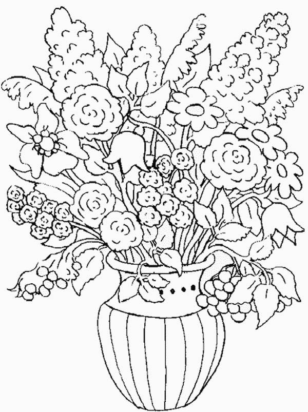 Nature Flower In The Vase Of Nature Coloring Page With Images