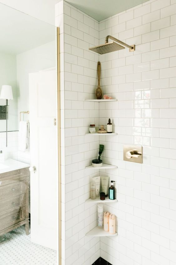 W D Renovates Upstairs Bathroom Makeover Wit Delight Small Bathroom Shelves Small Bathroom Shower Shelves