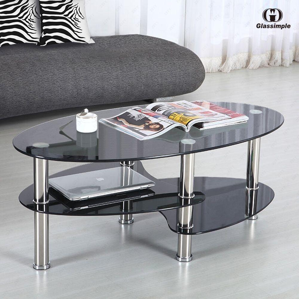 Black Glass Living Room Furniture Blue Brown Curtains Oval Side Coffee Table Shelf Chrome Base