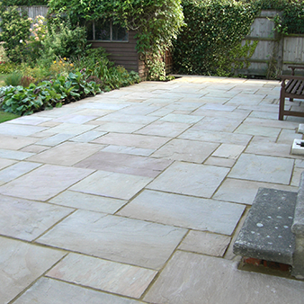 Exceptional Greenroom Landscaping   Indian Sandstone Paving Laid In A Random Pattern