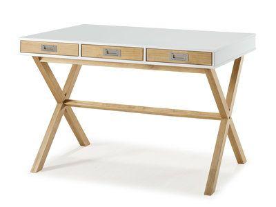 Bureau tiroirs en bois laqué blanc mat l cm preppy bureau