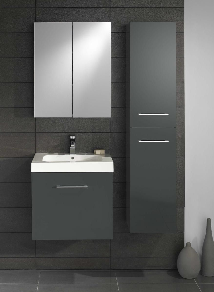 Black gloss bathroom furniture - Lomond Gloss Anthracite 500 Wall Hung Basin Vanity Unit