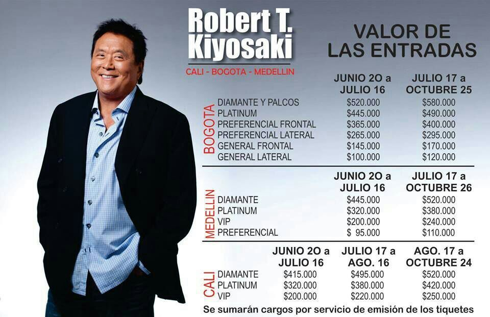 Valor entradas Robert Kiyosaki