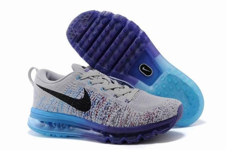 a60ee13a2310 Nike Flyknit Air Max Mens Grey Purple Blue