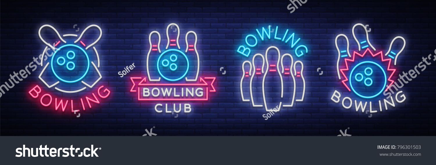 Bowling Is Collection Of Neon Signs Collection Of Emblem Symbols Neon Logo Light Advertising Banner Night Lighting Neon Signs Neon Logo Banner Advertising
