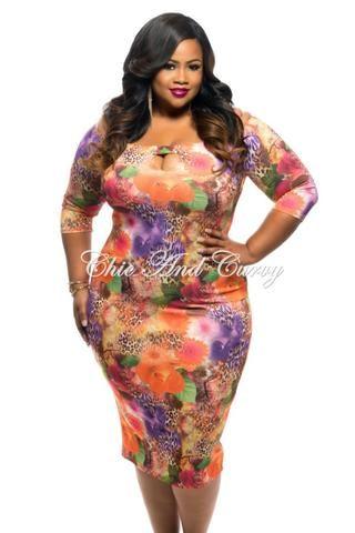 Floral black purple orange dress plus size