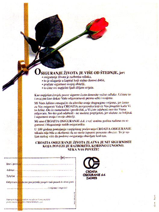 Advertisement That Ozeha Has Made For The Leading Croatian Insurance Company Croatia Osiguranje Croatian I Advertising Material Advertising Advertising Agency