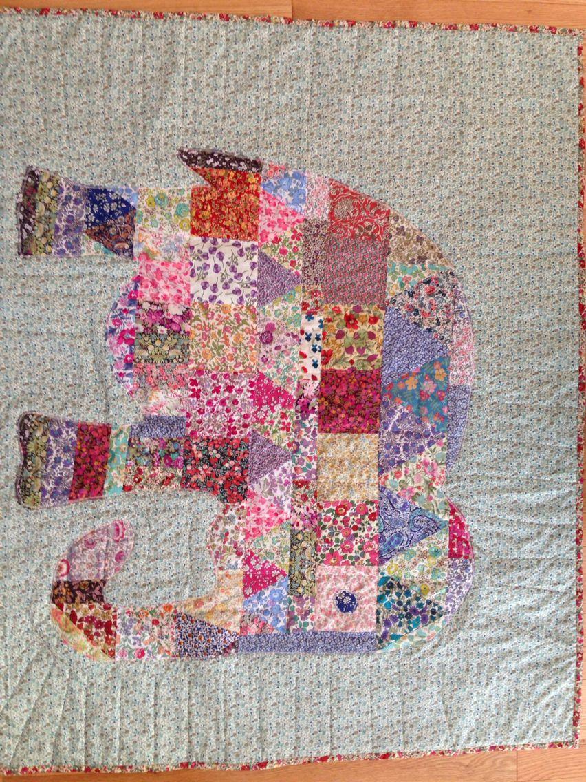 Elephant baby quilt, all liberty prints.