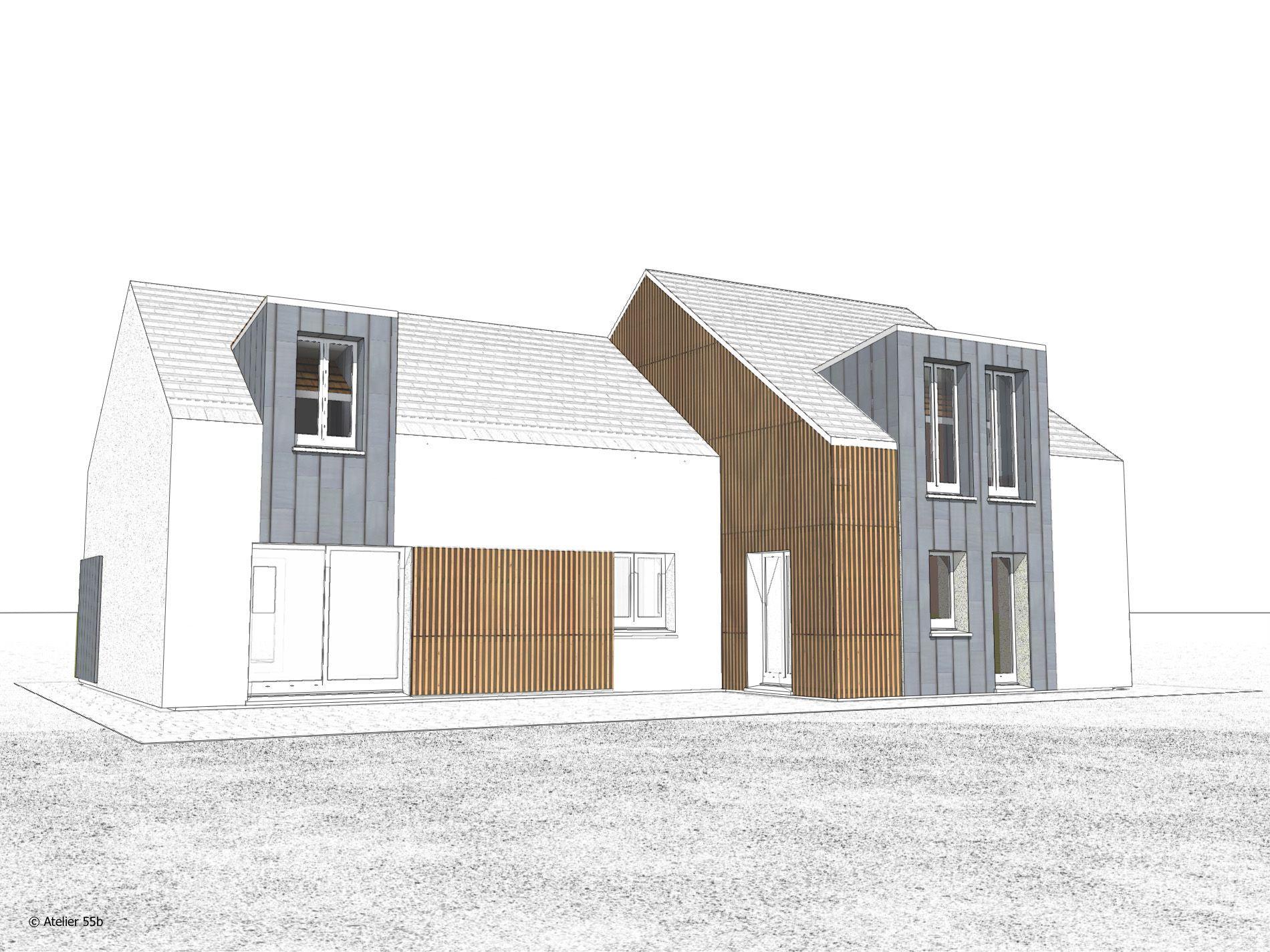 fa ade arri re projet e avec bardage bois claire voie et. Black Bedroom Furniture Sets. Home Design Ideas