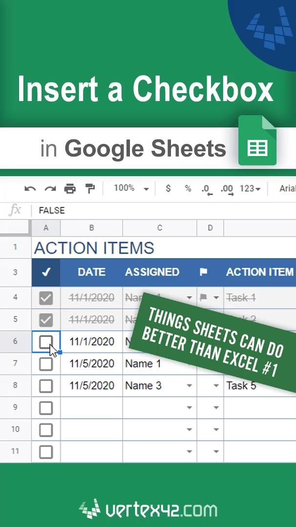 Insert a Checkbox in Google Sheets
