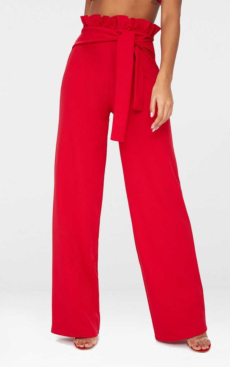 314f6f11c2 Red Crepe Paperbag Wide Leg Trousers in 2019   Products   Wide leg ...