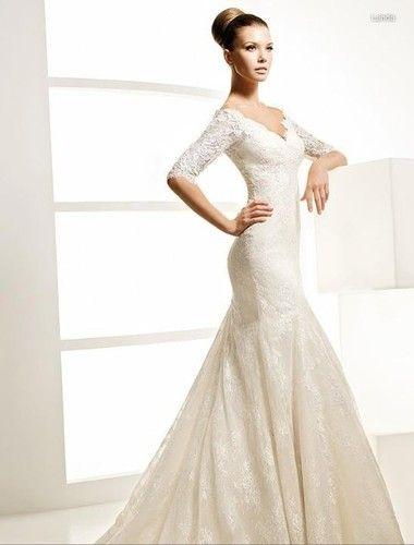 Classic vintage Lace Long Sleeve White/Ivory Wedding Dress Bridal ...