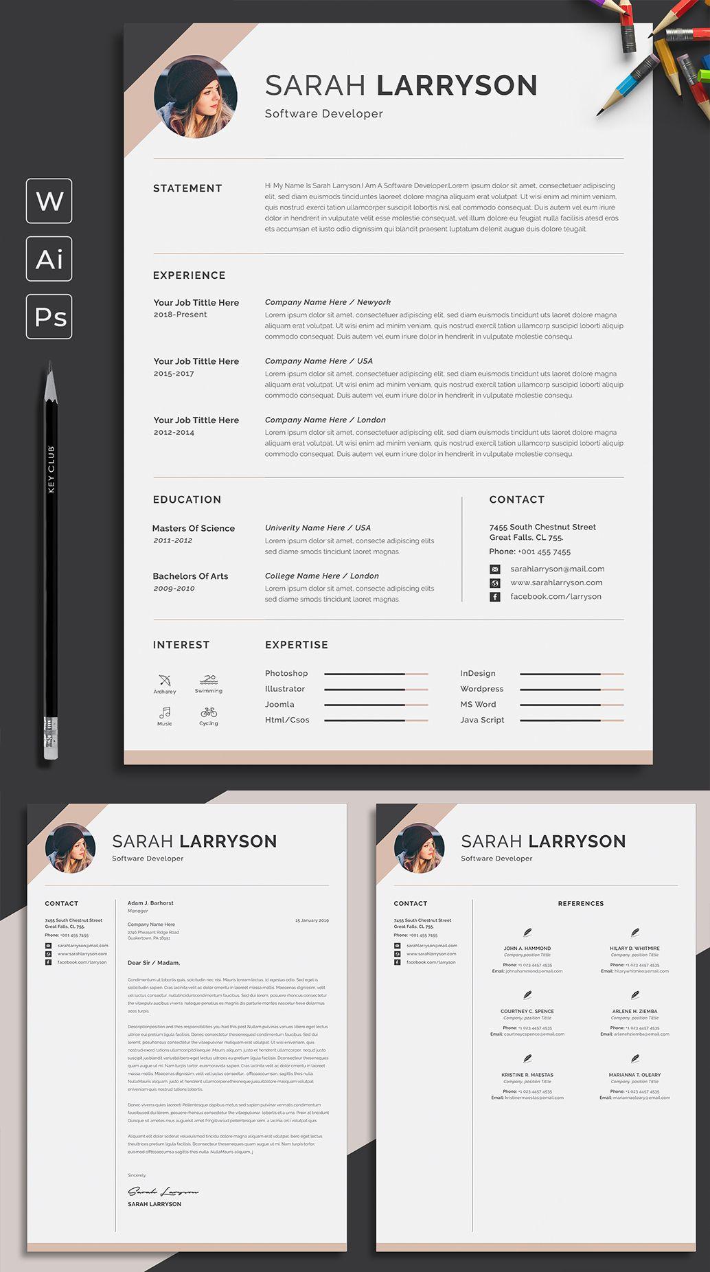 Resume Template Professional Resume Cv Template Modern Etsy Resume Template Professional Resume Template Word Resume Template