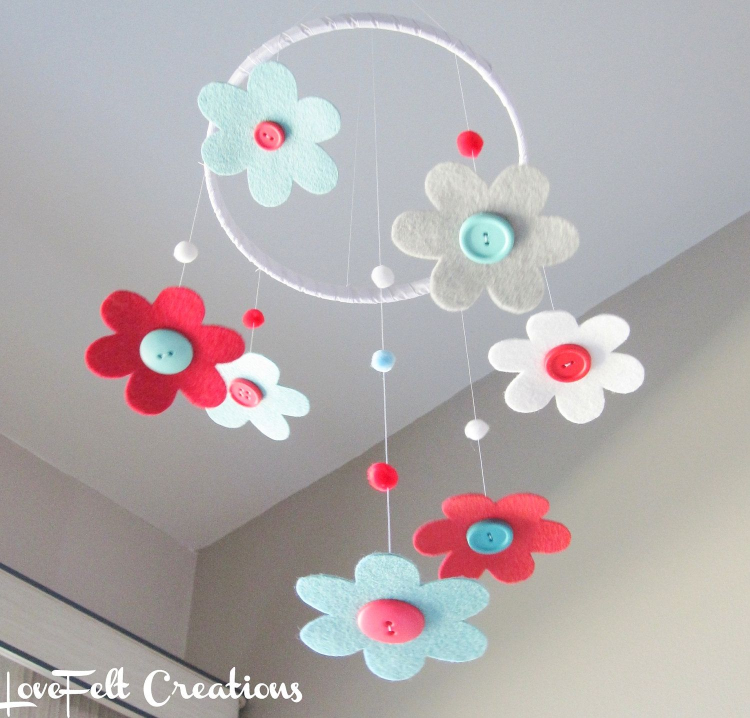 Crib mobile baby girl mobile baby crib mobile aqua for Diy felt flower mobile