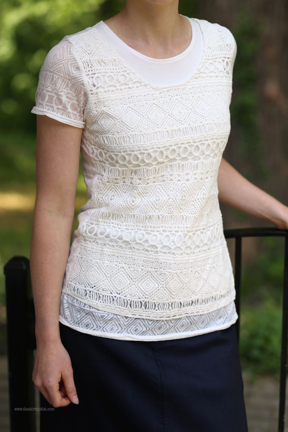 64430b8a941 Crochet Overlay Short Sleeve Top
