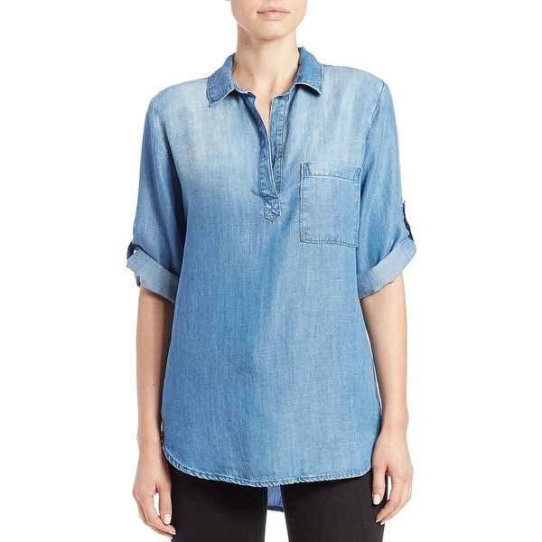 Bella Dahl Hi-Lo Denim Tunic ($88) ❤ liked on Polyvore featuring tops, tunics, ice wash, drapey tops, blue tunic, denim top, denim tunic and ombre top
