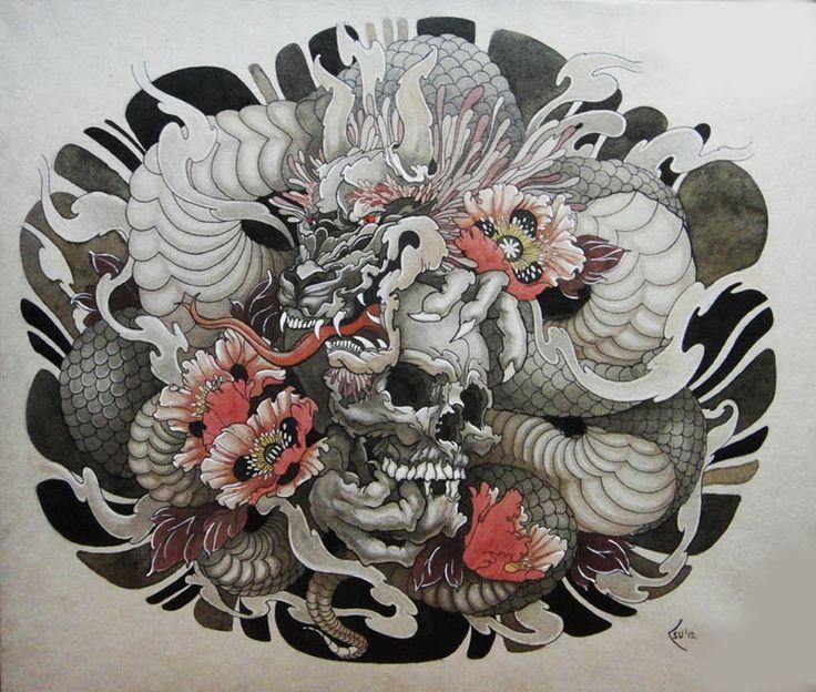 53acb24b1e3c95c4252f5ada54956909 Jpg 736 624 Japanese Tattoo Dragon Tattoo With Skull Dragon Tattoo Designs