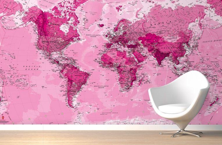 Pink world map wall mural wall murals walls and delivery pink world map wall mural gumiabroncs Choice Image