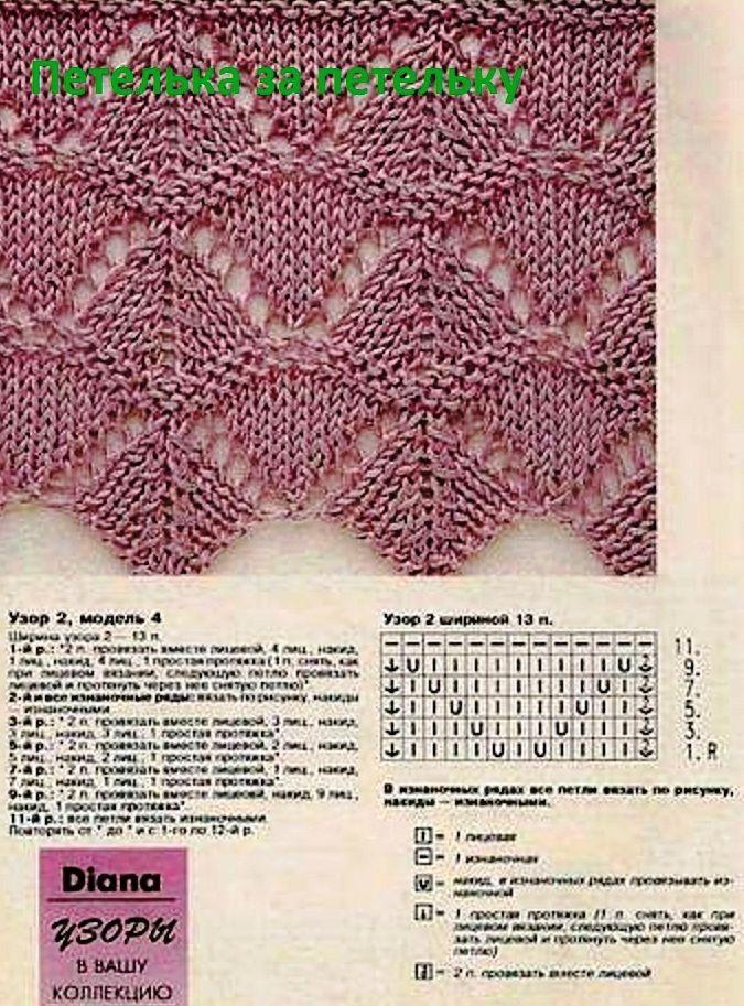 Lace knitting patter ~~ узор спицами 15 … | strickideen | Pinte…
