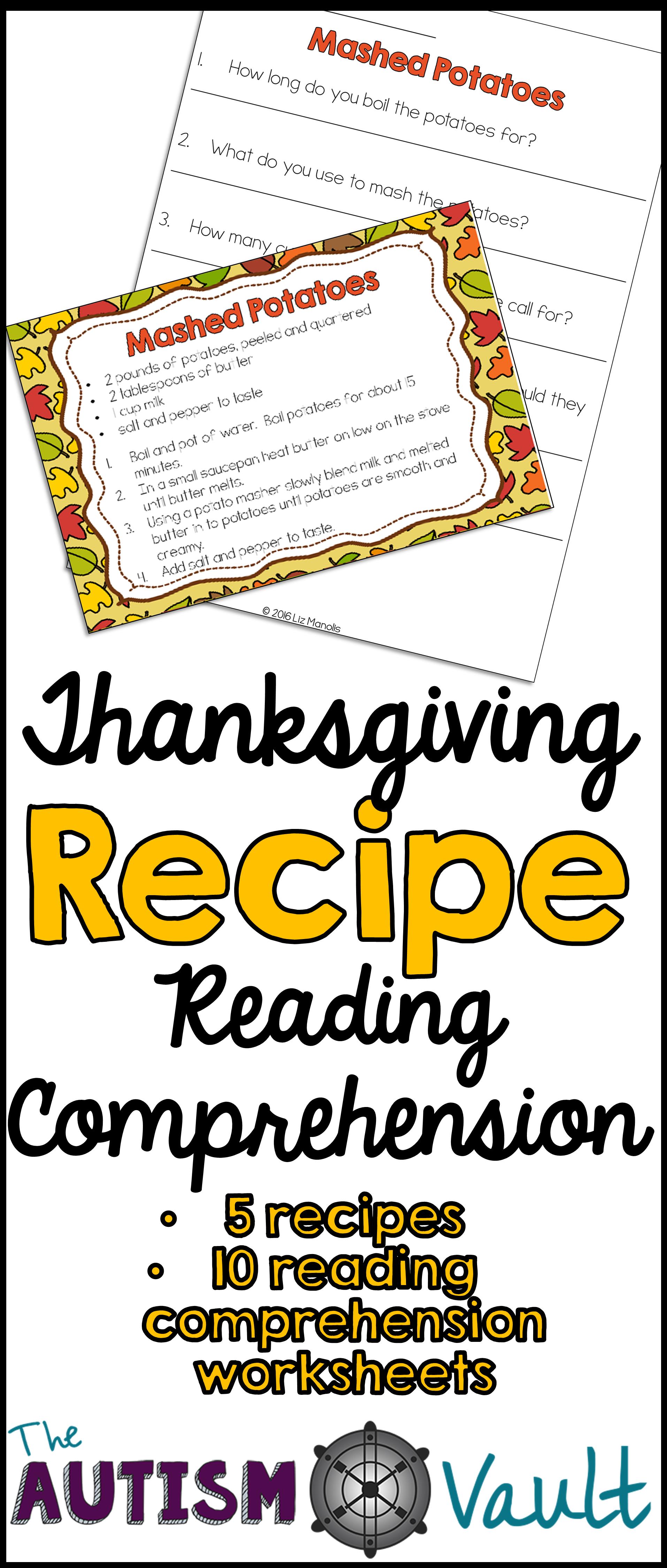 Thanksgiving Recipe Reading Comprehension