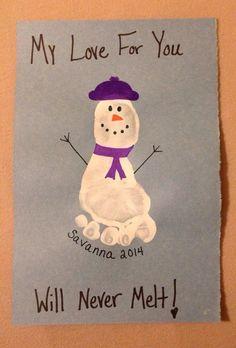 lumiukko lapset kortti jalanjälki Snowman footprint
