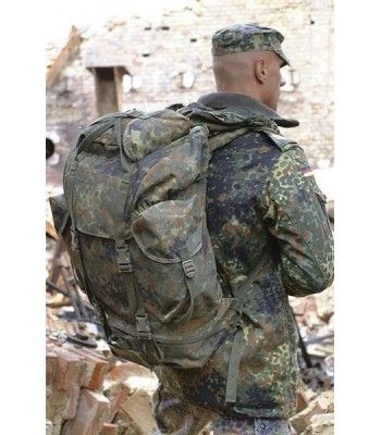 German Flecktarn Backpack. Great quality, made of nylon exterior with rubberized material lining the inside of the pockets.