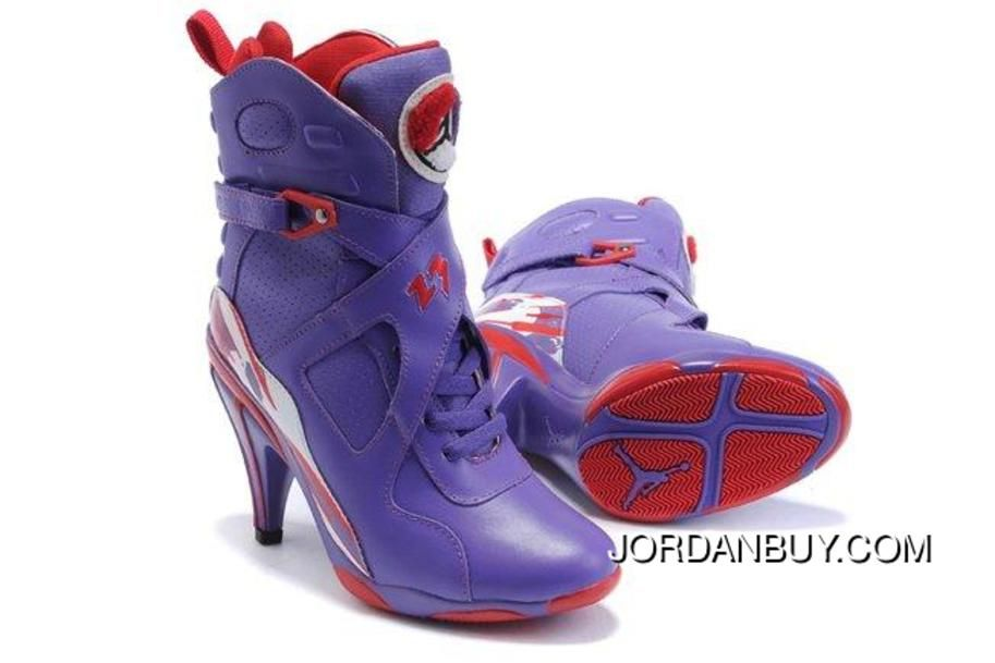 Jordan Shoes Womens Air Jordan 8 High Heels Purple Red Boots [Womens Air  Jordan 8 Boots - It features a purple perforated upper which is crafted  from fine ...
