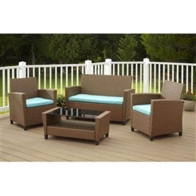 piece outdoor patio furniture set in brown wicker resin  teal cushions also buy