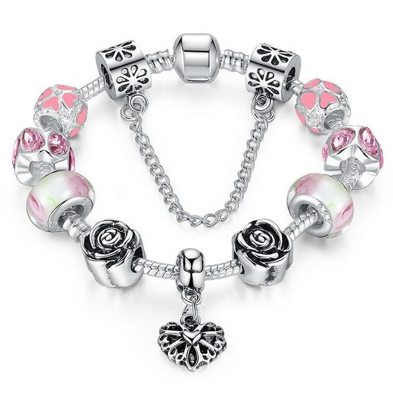 2a0d4bd15 Dámský moderní stříbrno rúžový náramek s korálky murano a pandora - poštovné  zdarma