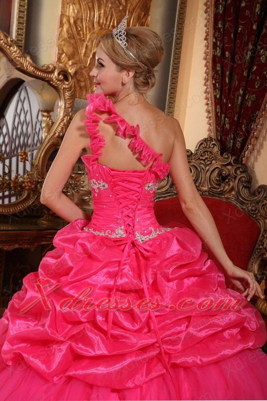 Hot Pink Ball Gown One Shoulder Floor-length Organza Beading and Pick-ups Quinceanera Dress