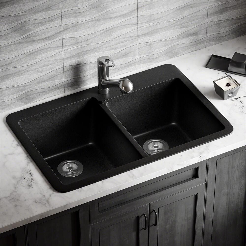 T801 Black Double Offset TruGranite Sink T801