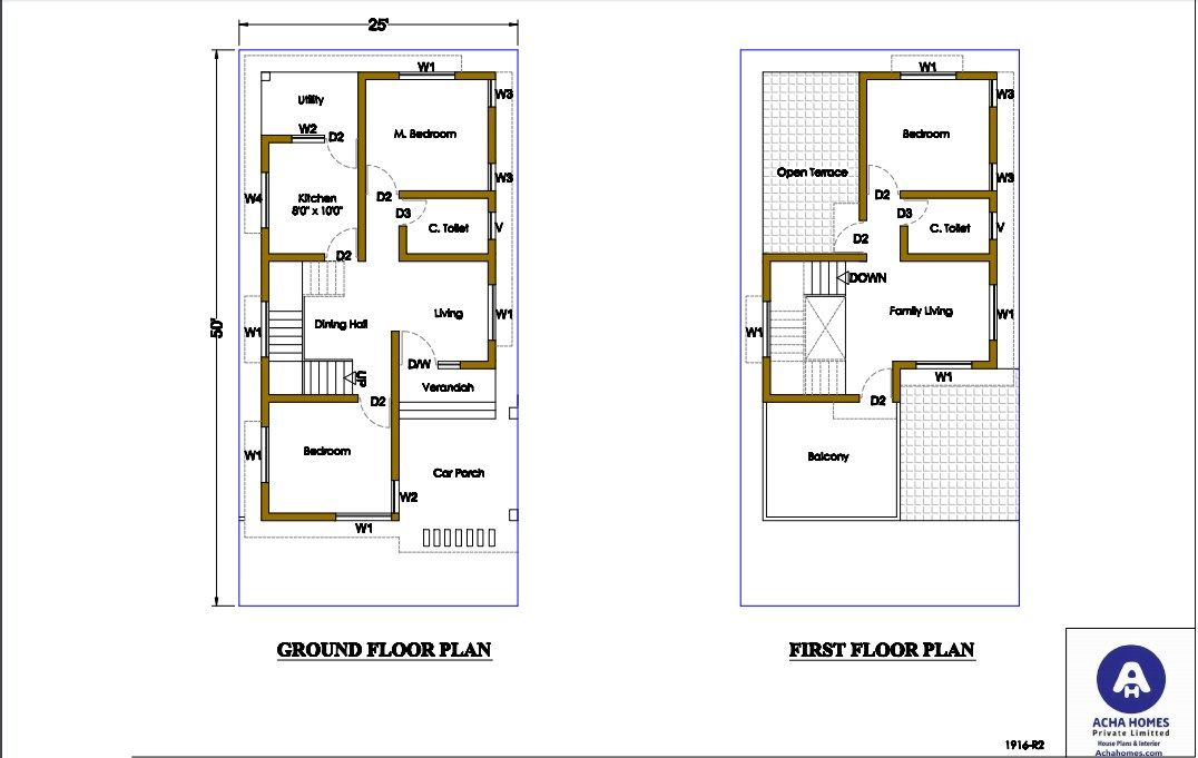 A 25 By 50 Feet Plot For Two Family In A Semi Detached House In 2020 Narrow House Plans Simple House Plans Duplex House Design